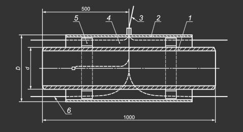 Чертеж промежуточного элемента трубопровода с кабелем вывода
