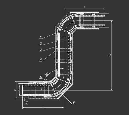 Z-образный элемент трубопровода в ппу изоляции в пэ или оц ...